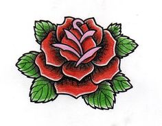Tattoo Vorlage im Old School Stil - Rose