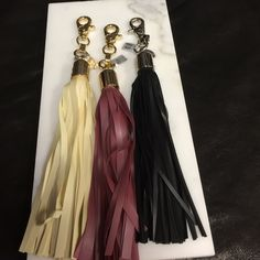 Key chains Cream or dusty rose with gold or black with silver so on trend   Price is for one not all three     Check out her new pieces and see what a deal you are getting on her first collection http://voyeurbyvex.com/ Voyeaur Accessories