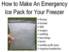This ice pack costs just pennies to make. Pop it in your freezer as it's flexible for elbows and ankles and is great for after surgery and even migraine headaches! Click through to learn how to make an emergency ice pack to keep in your freezer for emergencies!