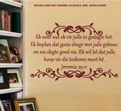 BYBEL VERS JEREMIA 29:11 (AFRIKAANS) INSPIRATIONAL BIBLE VERSE 5 WALL ART STICKER EXTRA LARGE VINYL DECAL – Vinyl Lady Decals