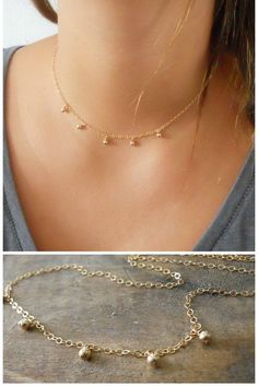 Gold Choker Delicate Gold Filled Necklace Gold by annikabella