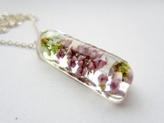 Real Flower Necklace - Real Heather Flowers in Resin Pendant - Resin Jewelry - Pink Flowers - Blue Flowers