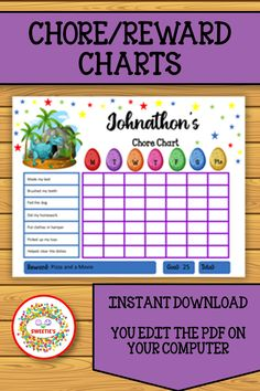Get your kid's daily routines on track with these dinosaur chore charts! Editable download. Chore and Reward Charts are included. Both Monday through Saturday and Monday through Sunday included. #chorecharts #etsy #printables #rewardcharts Printable Chore Chart, Chore Chart Kids, Chore Charts, Learning Resources, Teacher Resources, Teaching Ideas, Learn To Spell, Learn To Count, Number Posters
