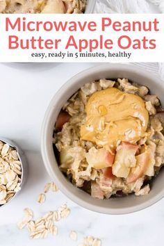The best homemade microwave apple oatmeal made with fresh apples, rolled oats, cinnamon, and topped with peanut butter. An easy, filling, and healthy breakfast that the kids will love. Healthy Oatmeal Recipes, Quick Healthy Meals, Healthy Eating Recipes, Delicious Vegan Recipes, Fruit Recipes, Healthy Breakfast Recipes, Healthy Snacks, Snack Recipes, Cooking Recipes