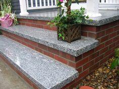Granite treads on brick steps