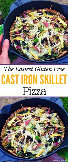 Need a quick and easy dinner? Then this cast iron skillet pizza is the best gluten free pizza recipe for you! You can make a paleo pizza or a vegan pizza, and this gluten free pizza recipe is a great way to use up leftovers. Making a fast gluten free pizza dinner has never been easier - or more delicious.