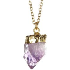 LEILA Amethyst Point Necklace ($23) ❤ liked on Polyvore featuring jewelry, necklaces, amethyst necklace, 14 karat gold pendants, amethyst pendant, 14 karat gold jewelry and amethyst pendant necklace
