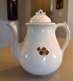 Antique Ironstone Coffee Tea Pot Tea Leaf by SongSparrowTreasures $80