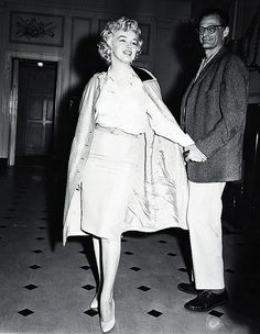 June 22nd 1959: Marilyn Monroe leaving Lenox Hill Hospital with husband Arthur Miller, after undergoing surgery to correct her chronic endometriosis. Unfortunately the operation was not successful, and Marilyn was unable to have children.