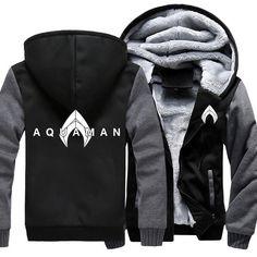aab8b2eb99 Men s Thicken Hoodie Superhero Aquaman Printed Zipper Jacket - wearGG