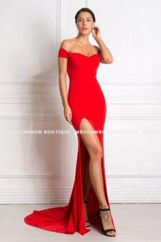 SUKIENKA MAXI SYRENA OŁÓWKOWA Z TRENEM OPUSZCZONE RAMIONA ROZCIĘCIE CZERWONA - MrsGawron Boutique Tights, Mermaid, White Dress, Formal Dresses, Red, Style, Fashion, Navy Tights, Dresses For Formal