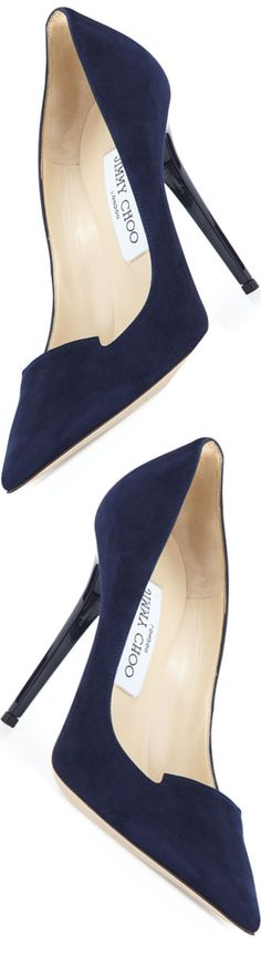 Jimmy Choo Ari Suede 110mm Pump, Navy #jimmychoocinderella