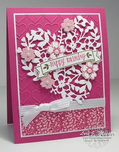 BloominHeart-CreativeInkingHop-Lori- Linda Bauwin Your CARD-iologist Helping… Birthday Cards For Women, Happy Birthday Cards, Wedding Anniversary Cards, Wedding Cards, Bloomin Love Stampin Up, Valentine Love Cards, Embossed Cards, Stamping Up Cards, Heart Cards