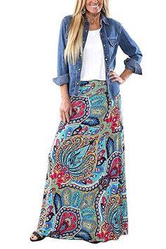 Shop a great selection of Yinggeli Women's Bohemian Print Long Maxi Skirt. Find new offer and Similar products for Yinggeli Women's Bohemian Print Long Maxi Skirt. Maxi Skirt Outfits, Long Maxi Skirts, Boho Outfits, Printed Maxi Skirts, Midi Skirts, Modest Outfits, Denim Shirt Dress Outfit, Dress Long, Lularoe Maxi Skirt