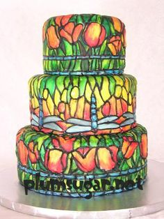 stained glass cake , this cake looks like it has a light glowing from within, I love it. Great party or wedding cake.