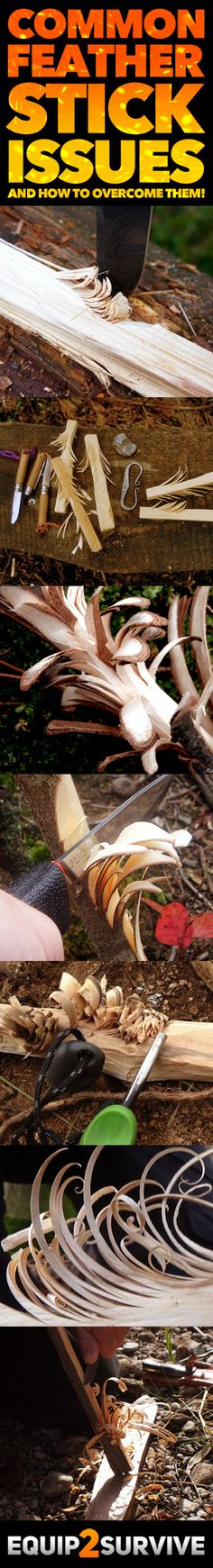 """""""Feather Sticks"""" or """"Fuzz Sticks"""" are a terrific way to create kindling/tinder in wet conditions for a survival or bushcraft fire, but making them is a skill that takes a little practice. Learn more about what you might be doing wrong to produce less-than Survival Knife, Survival Tips, Survival Skills, Bushcraft Skills, Bushcraft Camping, Camping Gear, 72 Hour Kits, Emergency Preparation, Winter Camping"""
