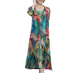 Hot saleVintage Women Two Pieces Set Straps 3/4 Sleeve Print Dresses Cheap - NewChic Mobile.