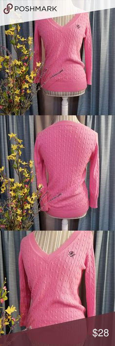 🌻🌺🌻RALPH LAUREN CABLE KNIT SWEATER!! SIZE:small   BRAND:Ralph Lauren   CONDITION:very good, no flaws    COLOR:pink and navy blue embroidered logo on chest  3/4 sleeves...perfect for spring!   🌟POSH AMBASSADOR, BUY WITH CONFIDENCE!   🌟CHECK OUT MY OTHER ITEMS TO BUNDLE AND SAVE ON SHIPPING!   🌟OFFERS WELCOME!   🌟FAST SHIPPING! Ralph Lauren Sweaters
