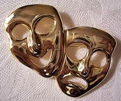 Comedy Tragedy Pin Brooch Gold Tone Vintage Theater Masks Smooth Large | #PrettyJewelryThingsStore - Jewelry on ArtFire #vintagejewelry #vintagepin #vintagebrooch