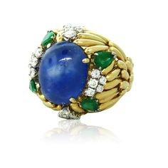 18K Gold 15.00ct Sapphire Diamond Emerald Ring Available on our July 21st Auction @ hamptonauction.com