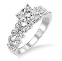 engagement ring setting with a beautiful open design reminiscent of butterflies and vines - Butterfly Wedding Rings