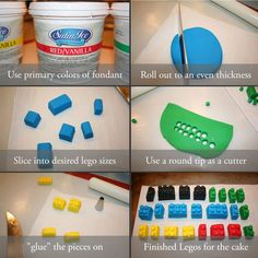 How to make sugarpaste Lego. Cute for decorating cupcakes, etc.