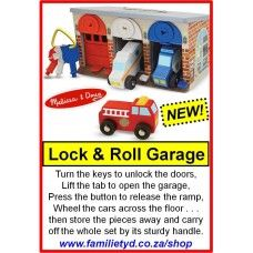 Brrm-Brrm... Lock & Roll Rescue Garage! Turn the keys to unlock the doors, Lift the tab to open the garage, Press the button to release the ramp, Wheel the cars across the floor... then store the pieces away and carry off the whole set by its sturdy handle.