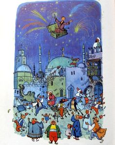 """From """"The Flying Trunk,"""" Andersen's Fairy Tales, 1958. Illustrator Illustrator: Gustav Hjortlund"""