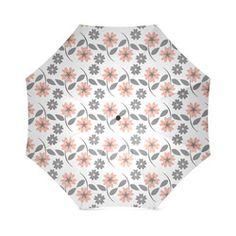 Peach Flowers, Grey Flowers, Floral Pattern, Flower Design Foldable Umbrella