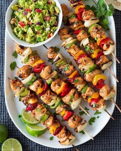 Chicken skewers with guac Y A S