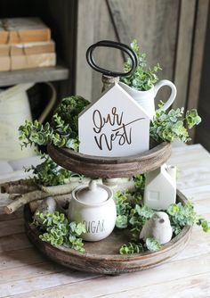 Tiered Tray Sign-Our Nest sign-Spring Table Decor-Farmhouse Home Decor-Mini Sign-Tiered Tray Decor-Housewarming Gift-Home Decor - Decorative Tray - Ideas of Decorative Tray - Tiered Tray Sign-Our Nest sign-Spring Table Decor-Farmhouse Centerpiece Table, Table Decorations, Spring Decorations, Rustic Farmhouse Decor, Rustic Decor, Rustic Gifts, Antique Farmhouse, Farmhouse Ideas, Country Farmhouse