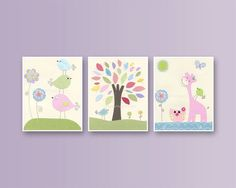 Nursery Wall Art, Nursery Print, pink giraffe, Nursery Décor, Baby girl, Lavender, aqua, set 3 11x14, match to carters, hayley, maya pbk via Etsy