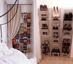 organizador de zapatos detrás de la puerta