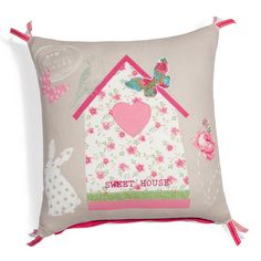 Fodera di cuscino Sweet house Shabby Home, Fabric Houses, Sewing Pillows, Pin Cushions, Girl Room, Linen Bedding, Decoration, Sweet Home, Arts And Crafts