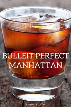 The Bulleit Perfect Manhattan combines sweet and dry vermouth to make this classic cocktail even more perfect. This is the perfect happy hour cocktail that's spirit forward and delicious. Liquor Drinks, Bourbon Cocktails, Fun Cocktails, Cocktail Drinks, Cocktail Recipes, Alcoholic Drinks, Beverages, Drinks With Bourbon, Sour Cocktail