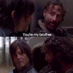 Love this moment. The look on Daryl's face. Rick is more of a brother to him than Merle ever was. Daryl And Rick, Dead Zombie, Fear The Walking Dead, Dead Inside, Rick Grimes, Dead Man, Cultura Pop, Daryl Dixon, Norman Reedus