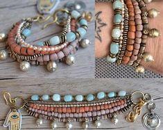 Hand made ethnic jewelry and more. by BeadStonenSkin on Etsy Gypsy Bracelet, Shell Bracelet, Strand Bracelet, Beaded Rings, Beaded Jewelry, Jewellery, Personalized Bracelets, Handmade Bracelets, Tribal Bracelets