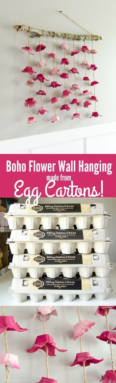 DIY Boho Flower Wall hanging tutorial made with egg cartons. Great way to reuse empty egg cartons! Cheap + easy DIY home decor #DIYHomeDecorCollege