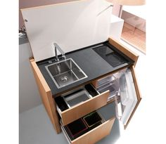 Small kitchen design, space saving modern kitchen cabinet from kitchoo micro cozinha, stove, Micro Kitchen, Compact Kitchen, Kitchen Small, Smart Kitchen, Kitchen Ideas, Camping Kitchen, Kitchen Modern, Minimalist Kitchen, Awesome Kitchen