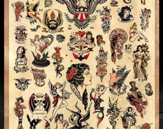 Sailor Jerry Tattoo Flash cartel imprimir por MarkPaintAndPrints