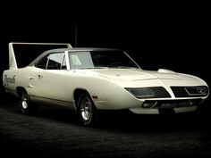 """PLYMOUTH ROAD RUNNER """"SUPERBIRD"""": circa. 1970: At 19 feet long with either a 440 4bbl or 426 dual quad HEMI, capable of high speed transit with a functional rear wing (at high speed)."""
