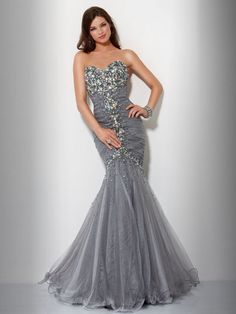 Trumpet/Mermaid Sweetheart Sleeveless Floor-length Tulle Prom Dress #FA744