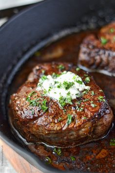 This Filet Mignon with garlic Herb Butter is so tender and delicious, simply melts in your mouth. A super easy family dinner! This Filet Mignon with garlic Herb Butter is so tender and delicious, simply melts in your mouth. A super easy family dinner! Grilled Steak Recipes, Meat Recipes, Cooking Recipes, Healthy Recipes, Filet Mignon Recipes Grilled, Filet Mignon Marinade, Steak Dinner Recipes, Best Filet Mignon Recipe, Pan Seared Filet Mignon