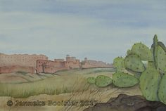 https://flic.kr/p/WiQzgk | Uitzicht op de Kasbah van Ouarzazate / View on the Kasbah of Ouarzazate | Watercolour on Saunders Waterford NOT 300 g/m2. Colours used are French Ultramarine, Cerulean Blue (red shade), Winsor Yellow, Gold Ochre, Burnt Umber, Indian Red; all Winsor&Newton Professional Watercolour and Indian Yellow, Sepia; Winsor&Newton Professional Watercolour sticks.  The reference photo was made by my son Martijn.  Framed 50 x 60 cm; € 115,-  Meer informatie vindt u op / More