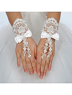 Wristlength Fingerless Ivory Lace Wedding Gloves with Satin Bow - USD $11.99