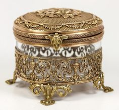 Opulent 19th C. French Dore Bronze and Baccarat Crystal Bonbonniere or Jewelry Box, Casket