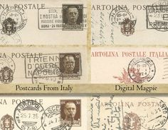 Printable bookmarks paper strips old Italian by DigitalMagpie