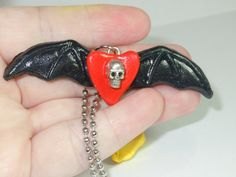 Halloween Heart Bat Necklace Skull Heart by laminartz on Etsy, $12.99