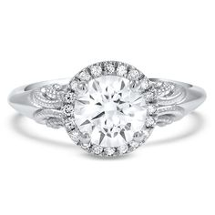 Antique-Inspired Halo Engagement Ring, top view