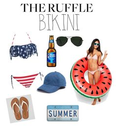 """""""Let's Be Real Ruffle Bikini✌️☀️"""" by kassidee-brown ❤ liked on Polyvore featuring Barneys New York, Big Mouth, Ray-Ban, Madewell, American Eagle Outfitters, summerfun and ruffledswimwear"""